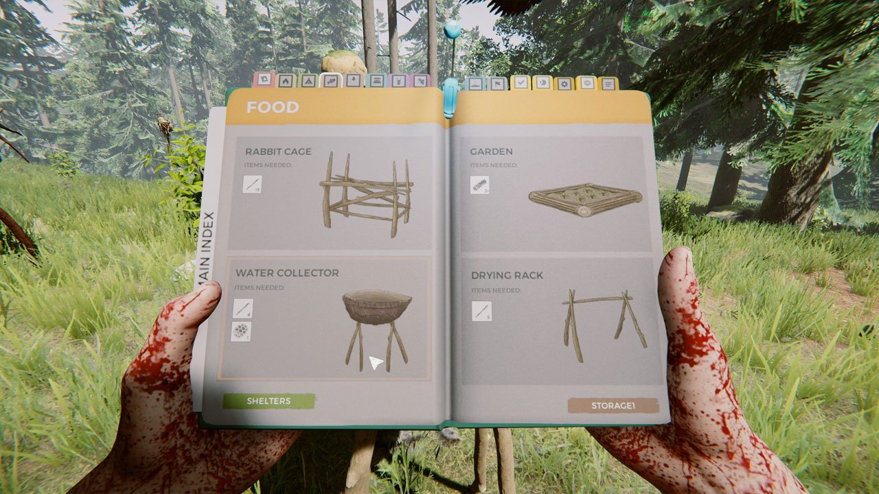rain collector recipe in survival book the forest