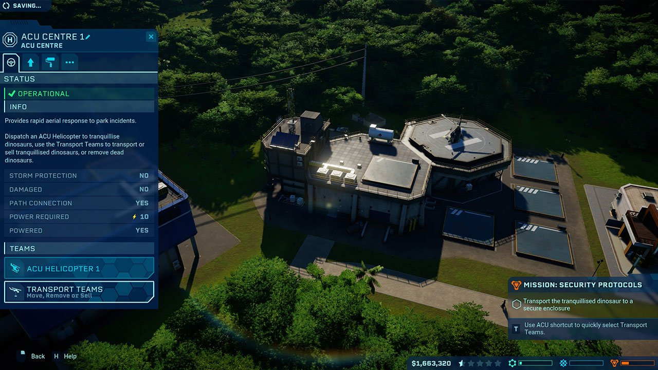 call a transport team to pick up dinosaur to sell jurassic world evolution