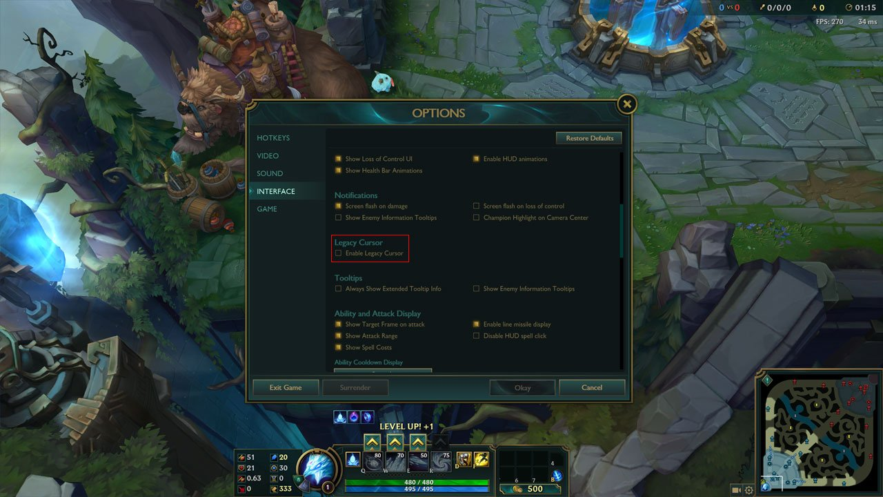 get old league of legends cursor back