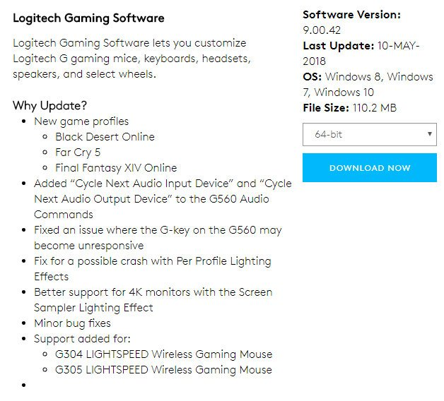 latest drivers and software to fix logitech g930