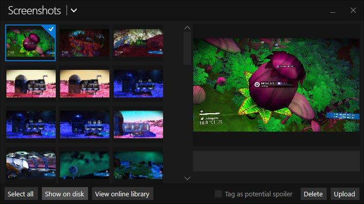 show folder with steam screenshots