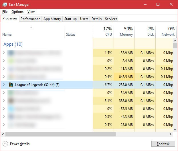 close league of legends task manager to fix launch issue