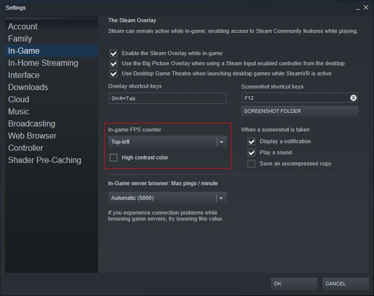 enable the fps counter in steam