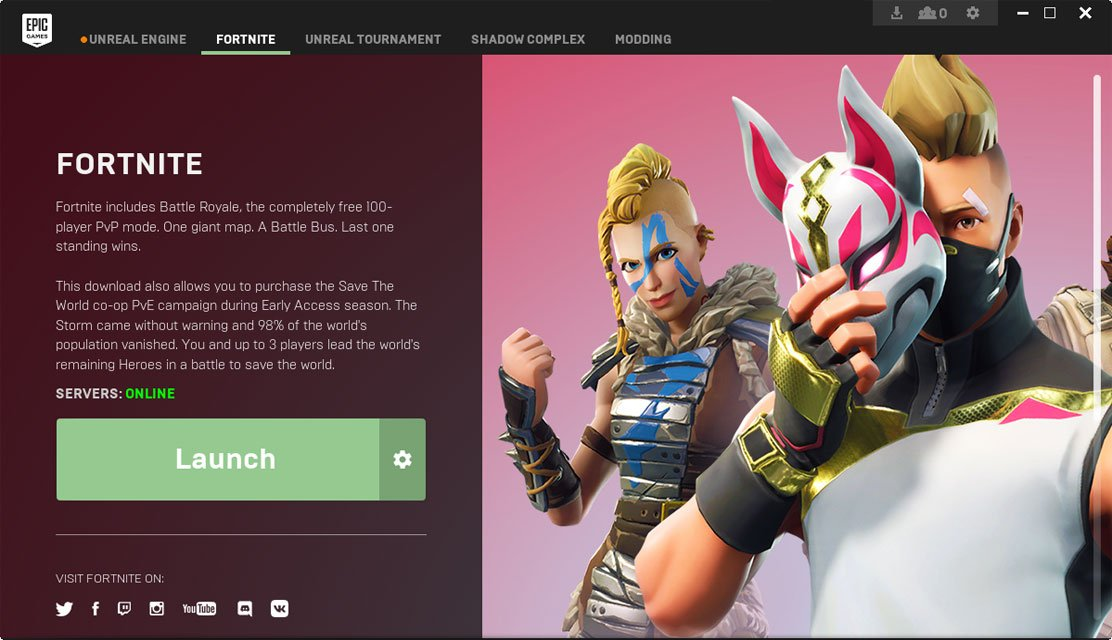 select the settings icon near the launch button - fortnite installer epic games pc