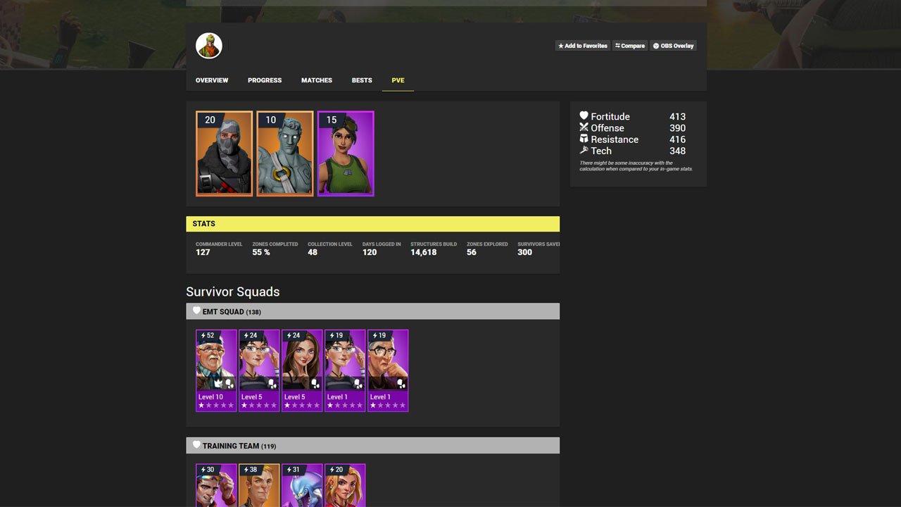 pve stats page - commander level fortnite