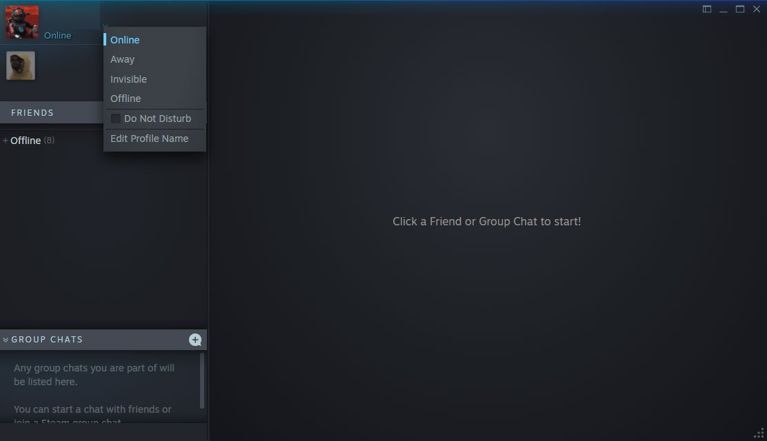 steam appear offline