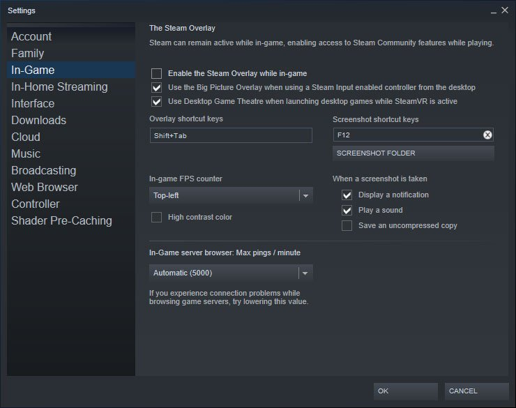 disable the steam overlay by unticking this box