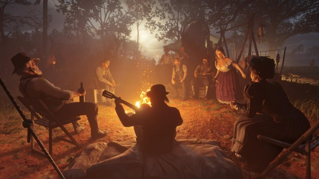 The Van der Linde Gang sits around a campfire