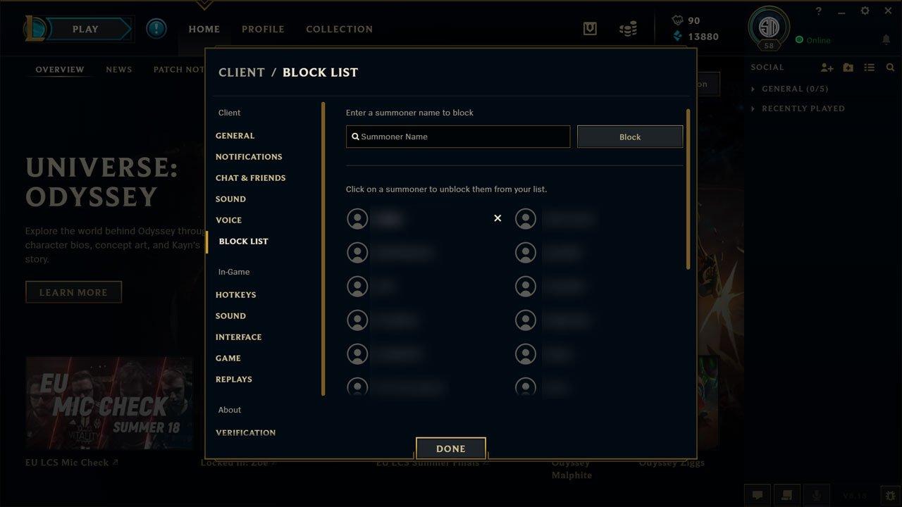 Block list screen in league of legends client