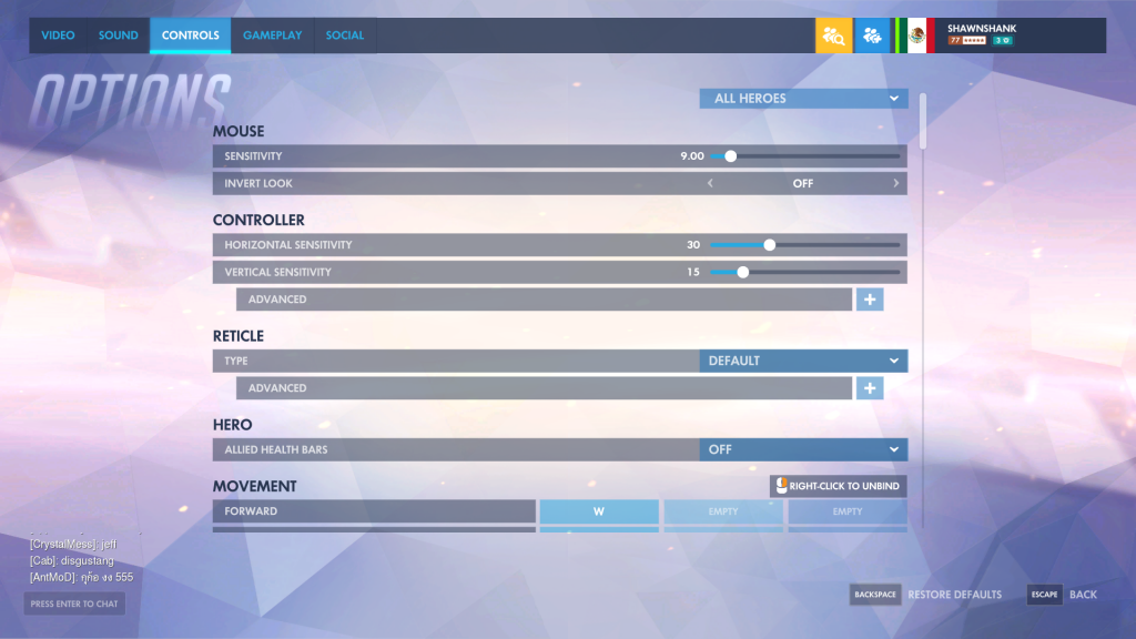 Overwatch Control Tab