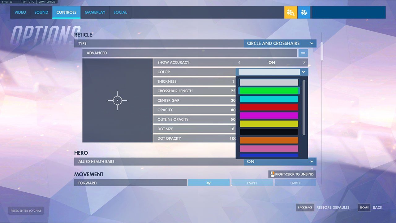 change the crosshair color
