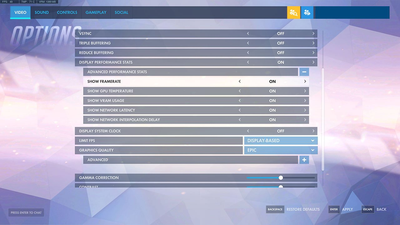 show framerate in overwatch