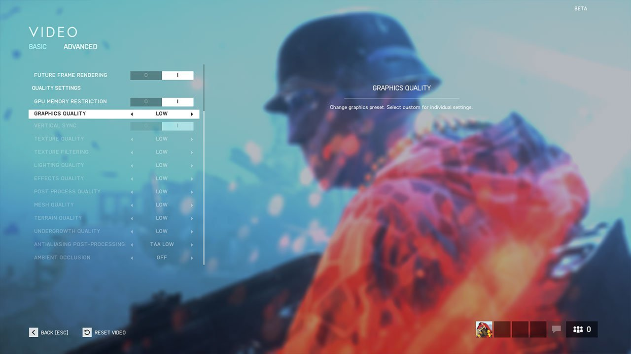 adjust the graphics settings in battlefield