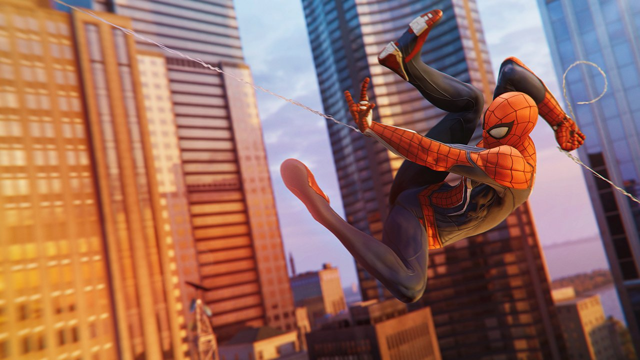 Spidey swinging at sunset