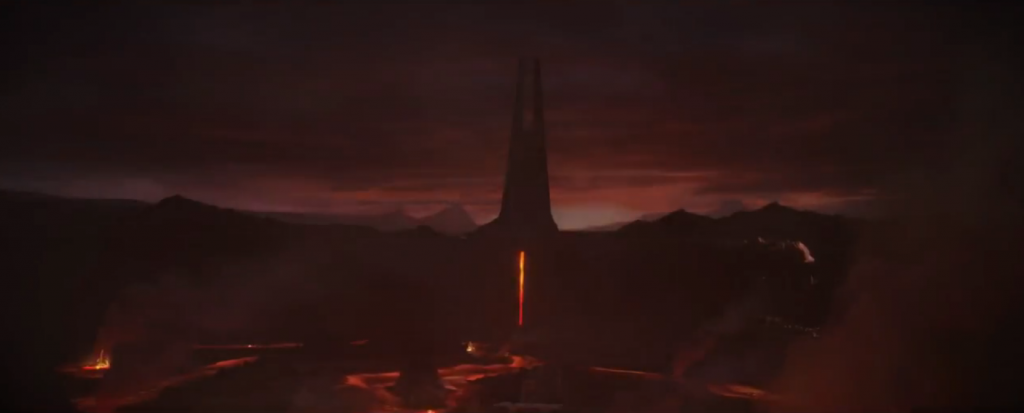A screenshot from the trailer of Darth Vader's castle.