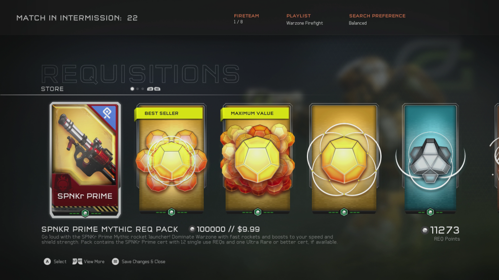 Screenshot of microtransactions in Halo 5: Guardians.