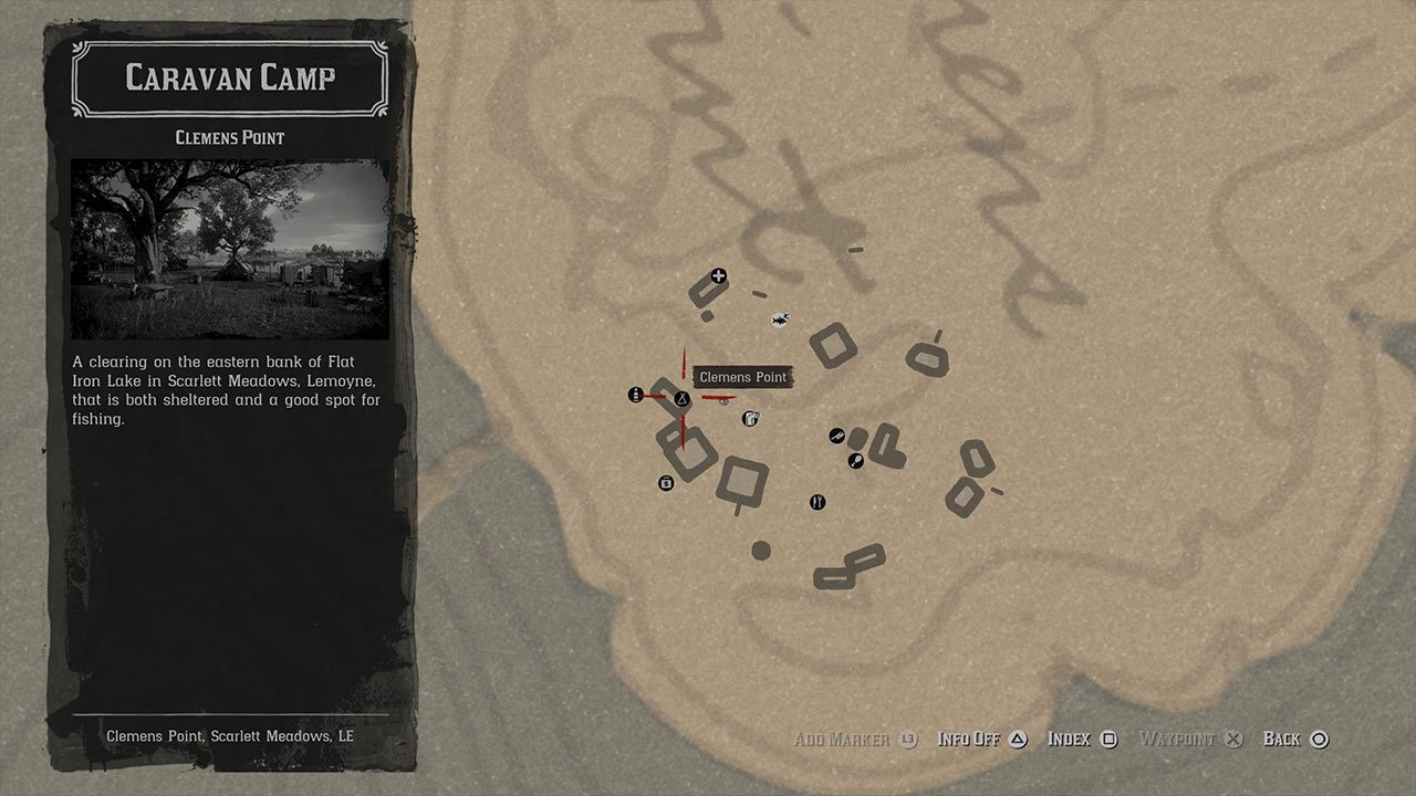 wardrobe location in camp on map
