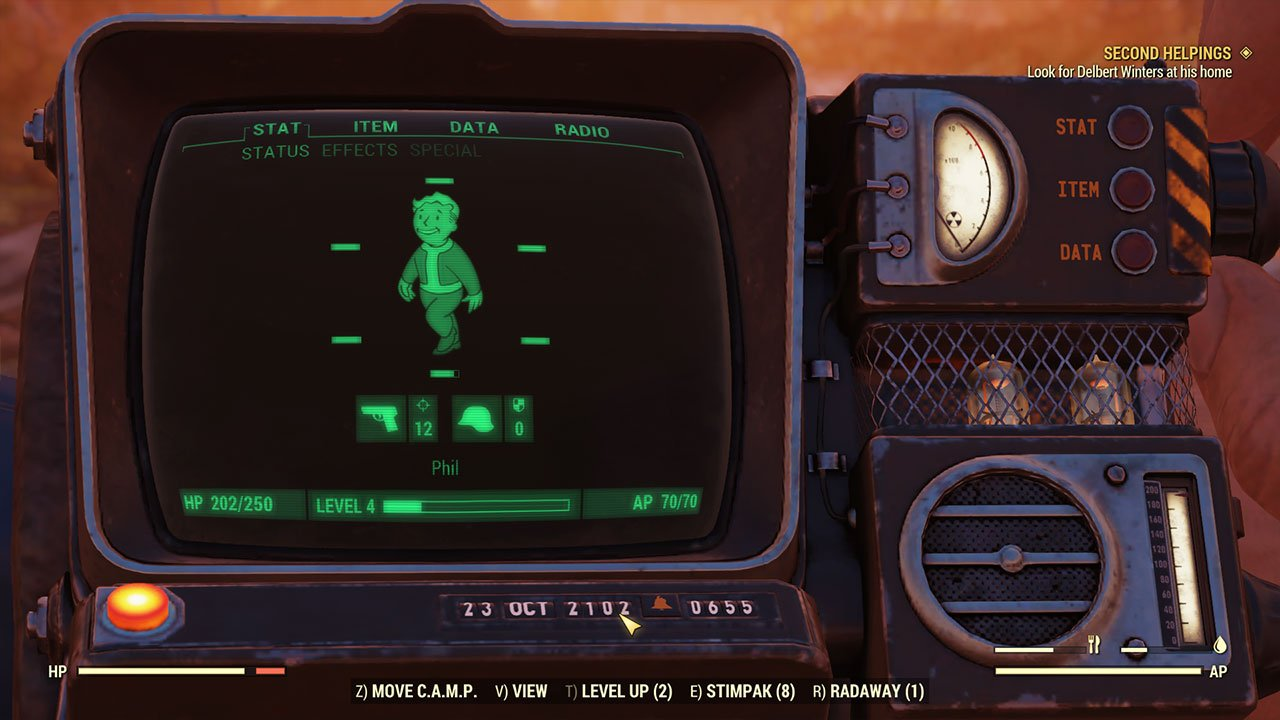 open the pipboy and choose move camp