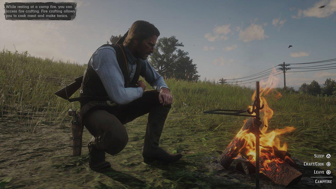 sleep camp cook at fire