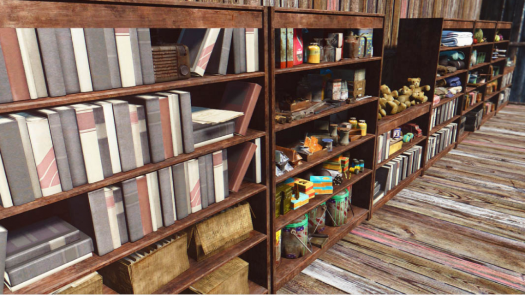 shelves clutter