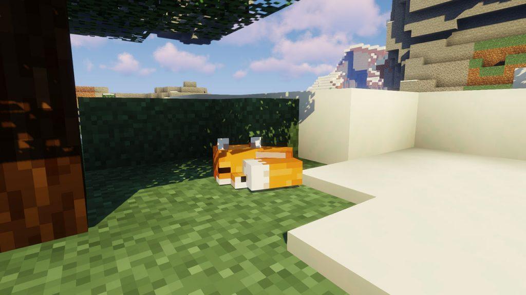 minecraft fox sleeping